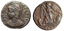 """Ancient Coins - Constantinopolis Commemorative """"Victory, Prow"""" Rome RIC 334 Rare About VF"""