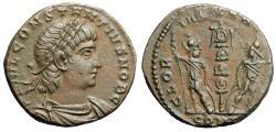 """Ancient Coins - Constantius II Caesar AE16 """"GLORIA EXERCITVS Soldiers"""" Constantinople aEF"""