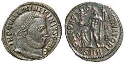 "Ancient Coins - Licinius I AE Follis ""IOVI CONSEVATORI Jupiter, Eagle N/B"" Nicomedia EF"