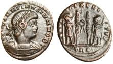 "Ancient Coins - Constantine II Caesar AE3 ""GLORIA EXERCITVS Soldiers, Wreath"" Trier RIC 550 gVF"