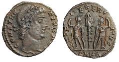 """Ancient Coins - Constantius II AE16 """"GLORIA EXERCITVS Soldiers"""" Cyzicus RIC 31 VF"""