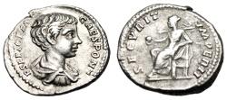 "Ancient Coins - Geta Silver Denarius ""SECVRIT IMPERII Securitas Globe"" RIC 20b VF Young Portrait"