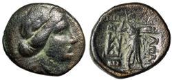 """Ancient Coins - Thessaly, Thessalian League AE Trichalkon """"Apollo & Athena Itonia"""" Fine"""