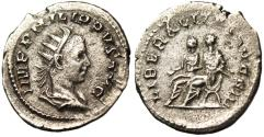 "Ancient Coins - Philip II Silver Antoninianus ""Seated By Father on Curule Chairs"" Rome RIC 230"