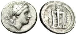 "Ancient Coins - Sicily, Tauromenion Silver Drachm ""Apollo, Star & Tripod-Lebes"" Rare gF"