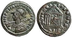 "Ancient Coins - Probus AE Antoninianus ""Bust With Warrior on Horseback Shield & Roma, Temple"""