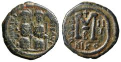 "Ancient Coins - Justin II AE Follis ""Seated with Wife Sophia / M"" Nicomedia Year 3 567-568 AD"