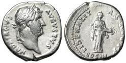 "Ancient Coins - Hadrian AR Denarius ""Liberalitas About to Pour Cornucopia"" RIC 217d VF"