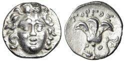 "Ancient Coins - King of Macedonia: Perseus Psuedo-Rhodian AR Drachm ""Helios & Rose"" Gorgos EF"