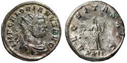 """Ancient Coins - Florian Silvered Antoninianus """"AEQVITAS AVG Aequitas, Scales"""" 276 AD RIC 25 EF"""
