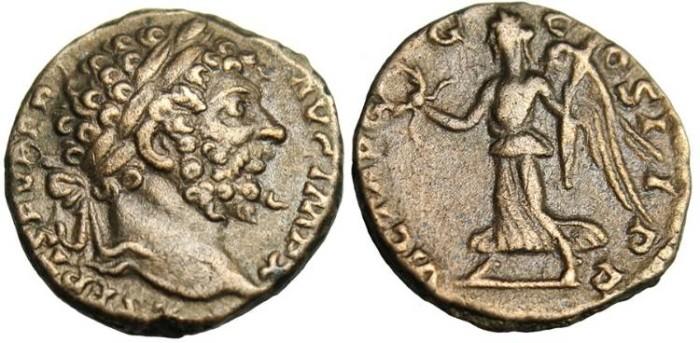 "Ancient Coins - Septimius Severus, Limes Denarius ""Victory"" RIC 120c VF"