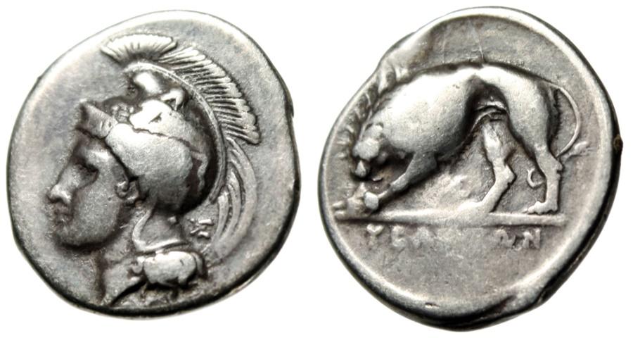 "Ancient Coins - Lucania, Velia Silver Nomos ""Athena & Lion Devouring Prey"" Circa 334-300 BC"