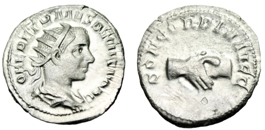 "Ancient Coins - Herennius Etruscus Silver Antoninianus ""CONCORDIA AVGG Clasped Hands"" 251 AD VF"