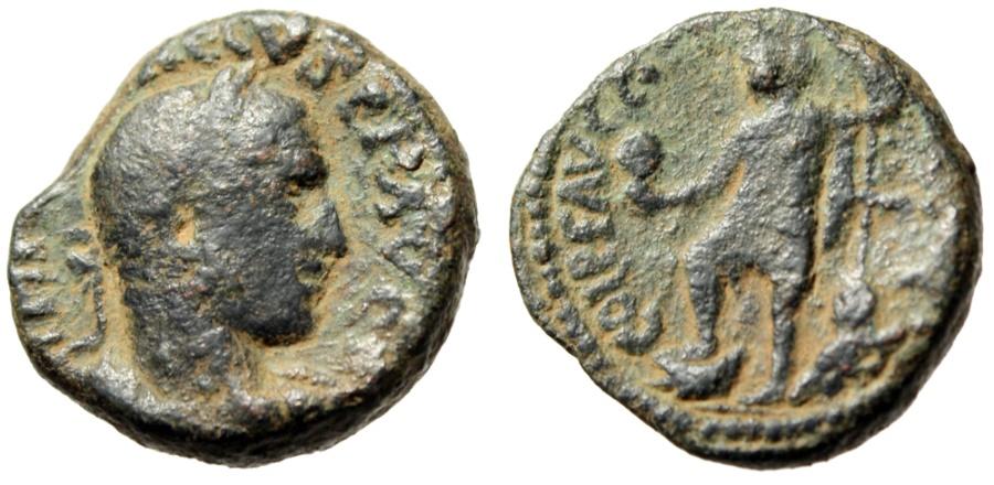 "Ancient Coins - Trebonianus Gallus AE22 ""Tyche With Bust, River Deity"" Samaria Caesarea Maritima"