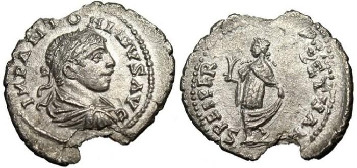 """Ancient Coins - Elagabalus, AR Denarius """"Spes"""" Antioch RIC 199 VF"""