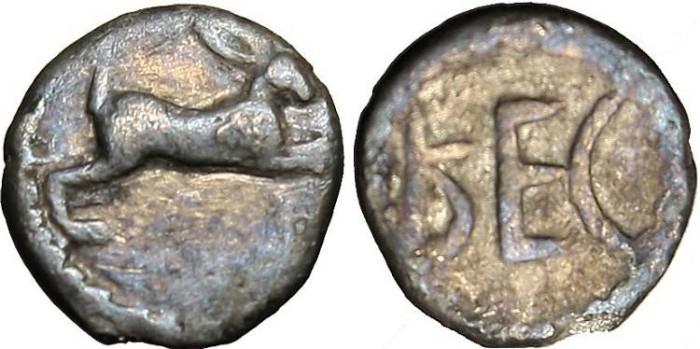 """Ancient Coins - Bruttium, Rhegium AR Obol """"Hare & Ethnic"""" Rare"""