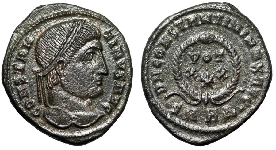 """Ancient Coins - Constantine I The Great AE19 """"XX Star in Wreath"""" Heraclea 324 AD RIC 64 EF"""