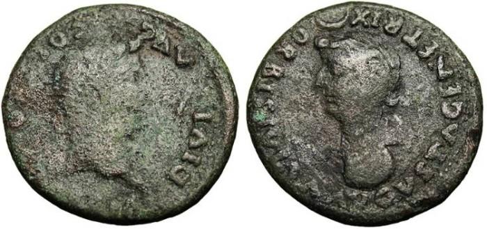 """Ancient Coins - Tiberius, AE Sestertius """"Head of Livia"""" Colonia Romula RPC 73"""