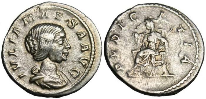 """Ancient Coins - Julia Maesa, AR Denarius """"Pudicitia Seated"""" RIC 268"""