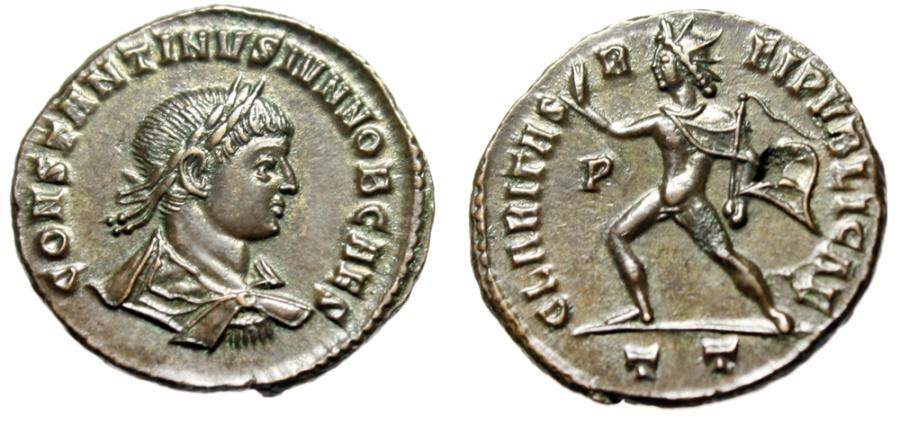 "Ancient Coins - Constantine II ""CLARITAS REIPVBLICAE Sol, Whip"" Ticinum RIC 80 Rare Choice EF"