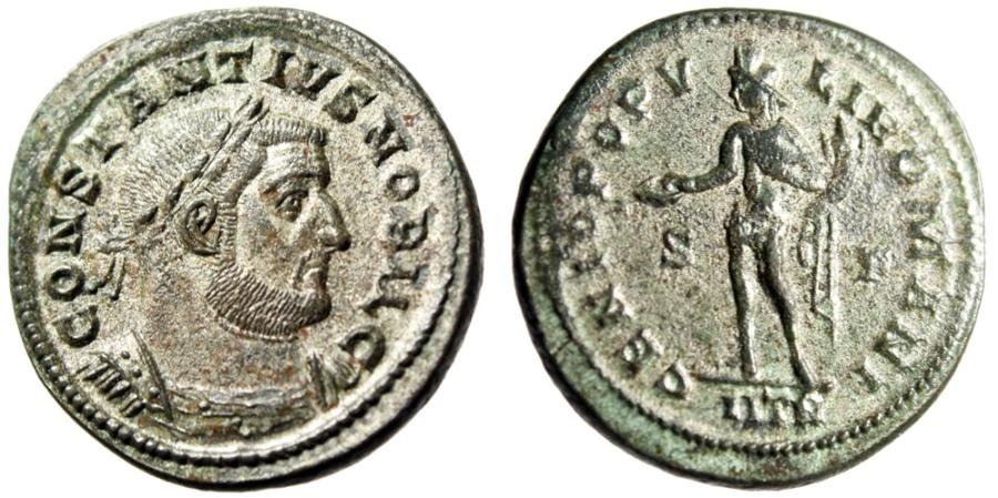 """Ancient Coins - Constantius I Chlorus as Caesar Silvered Follis """"Genius, IITR"""" Trier RIC 508a VF"""