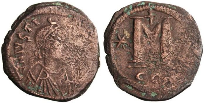 "Ancient Coins - Justin I AE 33mm Follis ""Large M"" Constantinople SB 62"