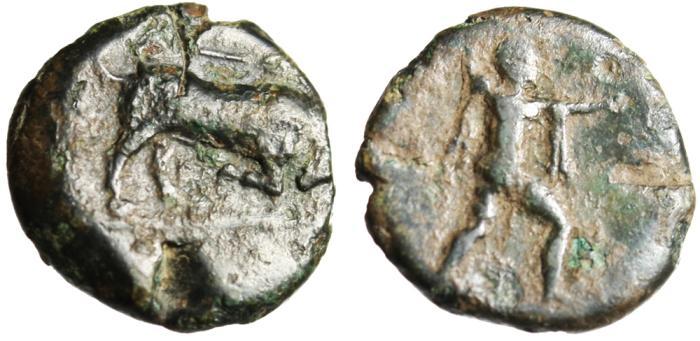 "Ancient Coins - Lucania, Poesidonia AE14 ""Bull Butting Caduceus & Poseidon Trident"" Very Rare"