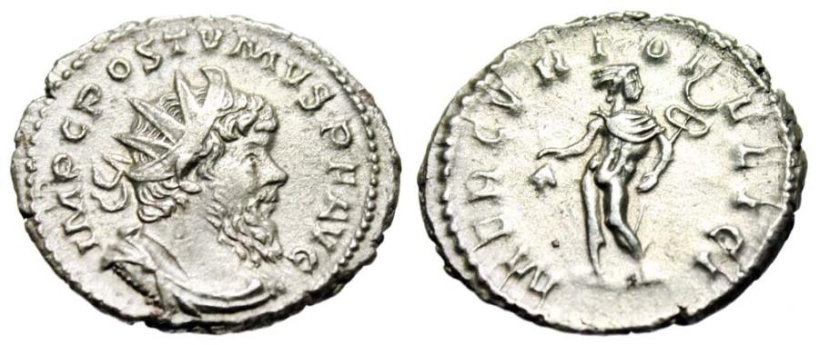 "Ancient Coins - Postumus Silver Antoninianus ""MERCVRIO FELICI Mercury"" RIC 313 Choice Near EF"