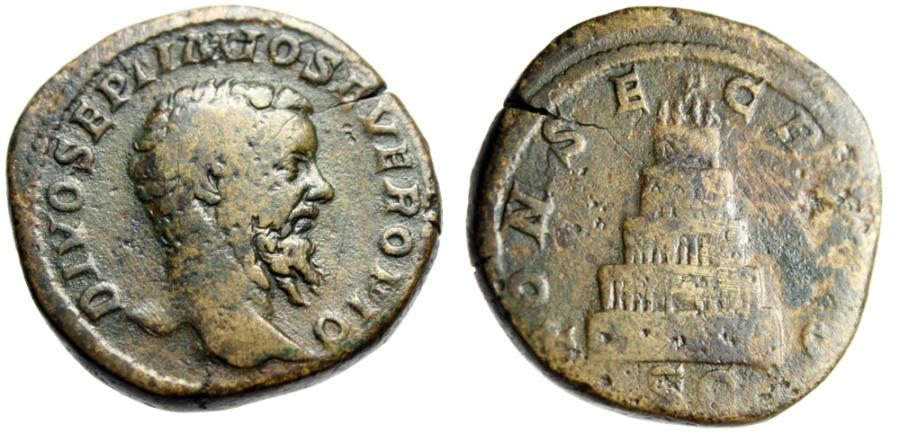 """Ancient Coins - Divus Septimius Severus AE Sestertius """"CONSECRATIO Funeral Pyre"""" RIC 490b Rare"""