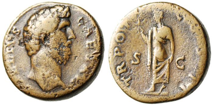 """Ancient Coins - Aelius Caesar AE Sestertius """"Spes Holding Flower"""" Rome RIC 1055"""