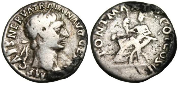 "Ancient Coins - Trajan, Silver Denarius ""Abundantia Seated"" RIC 32 var 100 AD"