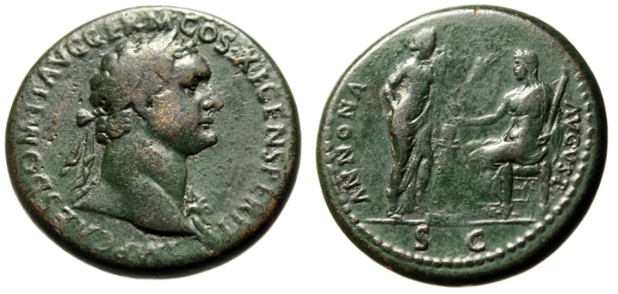 "Ancient Coins - Domitian Sestertius ""Annona Facing Seated Ceres, Altar"" Rome 85 AD RIC 396 Rare"