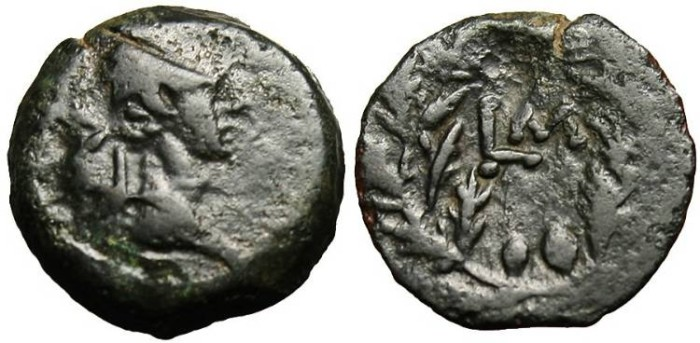 "Ancient Coins - Augustus, AE Obol ""LM Monogram in Wreath"" Egypt, Alexandria Rare"