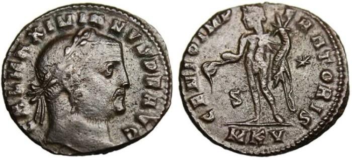 """Ancient Coins - Galerius as Augustus, AE Follis """"GENIO IMPERATORIS Genius"""" Cyzicus RIC 56"""