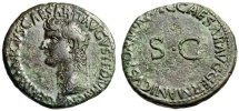"Ancient Coins - Germanicus (Father of Caligula) AE As ""Bust & Large SC"" 37-38 AD RIC 35 VF"