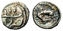 "Ancient Coins - Phoenicia, Byblos AR 1/16th Shekel (Obol) ""Galley, Hippocamp & Lion Eating Bull"""