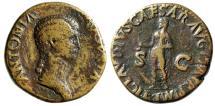 """Ancient Coins - Antonia AE Dupondius """"Claudius With Simpulum"""" Rome 41-50 AD RIC 92 Good Fine"""
