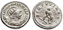 "Ancient Coins - Maximian Silvered Ant. ""VIRTVTI AVGG Hercules Strangling Lion"" RIC 456 Choice EF"