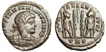 "Ancient Coins - Constantine II Caesar AE3 ""GLORIA EXERCITVS Soldiers, Palm"" Trier RIC 556"