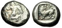 "Ancient Coins - Caria, Uncertain AR Stater ""Winged Figure Kneeling Left & Lion"" Very Rare aVF"