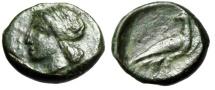 "Ancient Coins - Sicily, Akragas AE Onkia ""Apollo & Eagle Standing"" 287-279 BC Very Rare VF"