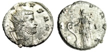 "Ancient Coins - Gallienus Silvered Antoninianus ""Salus Feeding Snake"" RIC 581 Siscia EF"