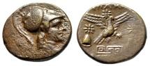 "Ancient Coins - Phrygia, Apameia AE22 ""Helmeted Athena & Eagle, Maeander Pattern, Caps"" VF"