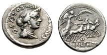 """Ancient Coins - C Annius & L Fabius Hispaniensis AR Denarius """"Anna Perenna & Quadriga"""" Good VF"""