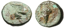 "Ancient Coins - Ionia, Teos AE12 ""Griffin Seated / Bunch of Grapes"" BMC 39 Rare"
