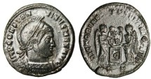 "Ancient Coins - VF Constantine I The Great AE3 ""Two Victories, C on Altar"" Ticinum RIC 82 Rare"
