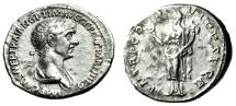 "Ancient Coins - Trajan AR Silver Denarius ""Felicitas, Caduceus"" Rome 114-117 AD RIC 345 VF"