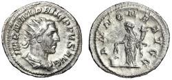 "Ancient Coins - Philip I AR Antoninianus ""Annona by Modius"" Rome 244-247 AD EF Toned"