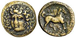 "Ancient Coins - Thessaly, Larissa AE 22 ""Nymph Facing & Horse Trotting, Grain"" VF"