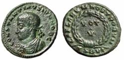 "Ancient Coins - Constantine II Caesar AE19 ""CAESRVM NOSTRORVM Votive"" Thessalonica RIC 128 VF"